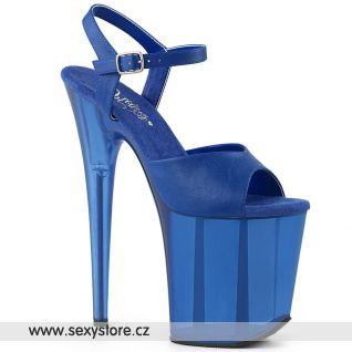 FLAMINGO-809T FLAM809T/BLUPU/M Modré sexy boty na extrémním podpatku a platformě
