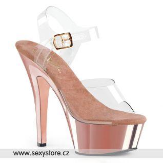 Růžové lesklé boty na podpatku KISS208/C/ROGLDCH