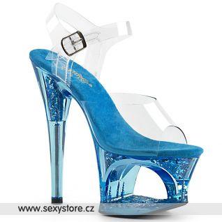 MOON708GFT/C/BLU Modré pole dance boty na vysokém podpatku a platformě