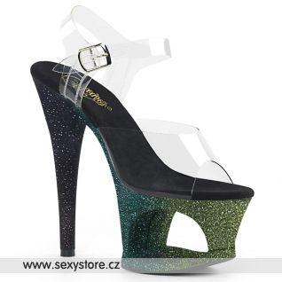 MOON708OMBRE/C/EM-B Luxusní sexy boty černo zelené