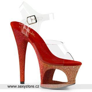 MOON708OMBRE/C/GLD-R Luxusní sexy boty zlato červené na vysokém podpatku