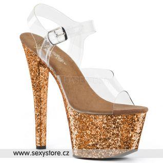 Bronz třpytivé sexy boty SKY308LG/C/BZG