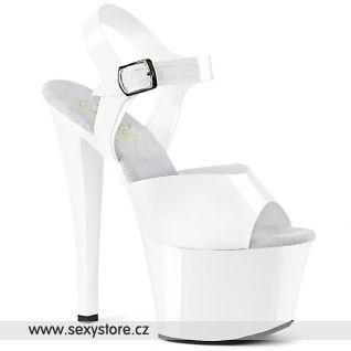 SKY308N/WTPU/M Bílé boty na vysokém podpatku a platformě