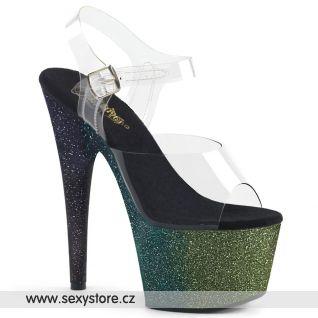 ADO708OMBRE/C/EM-B černo zelené sexy boty s třpytkami na podpatku a platformě