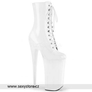 BEYOND-1020 BEY1020/W/M jsou bílé kozačky na extrémním podpatku a platformě