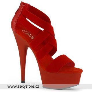 DEL669/RELS-PU/M Páskové sexy červené boty na podpatku a platformě