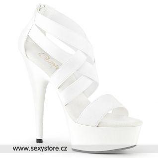 DELIGHT-669 DEL669/WELS-PU/M Svatební bílé páskové boty na podpatku a platformě