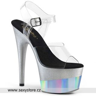 ADORE-708-2HGM ADO708-2HGM/C/SGHG Stříbrné sandály na vysoké platformě a podpatku