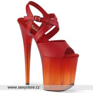Červené sexy taneční boty na extrémním podpatku FLAM822T/RPU/M