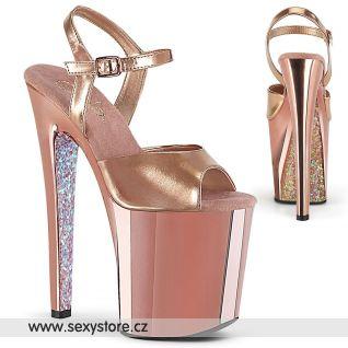 Luxusní zlato růžové boty na extrémním podpatku XTM809TTG/RGMPU/RGCH