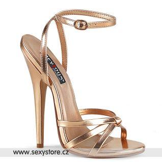 DOMINA-108 Zlato růžové fetiš páskové sandály DOM108/ROGLDMPU