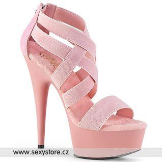 DELIGHT-669 DEL669/BPELS-PU/M Růžové páskové boty na podpatku a platformě