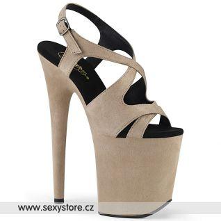 Béžové boty na extra vysokém podpatku FLAMINGO-831FS FLAM831FS/BEFS/M