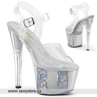 Stříbrné sexy boty SKY308OF/C/S