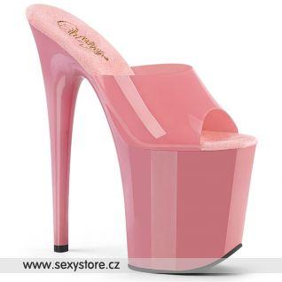 FLAMINGO-801N Růžové taneční pantofle na extra vysokém podpatku FLAM801N/BPTPU/M