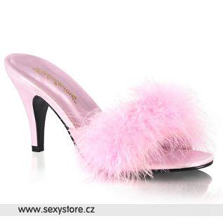 AMOUR-03 Růžové pantoflíčky s chmýřím AMO03/BPPU