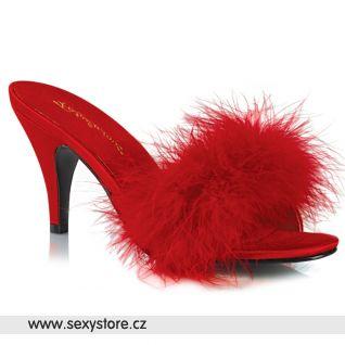 Červené pantoflíčky s chmýřím AMO03/RPU