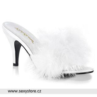 Bílé pantoflíčky s chmýřím AMO03/WPU