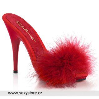 Červené pantofle na jehlovém podpatku s labutěnkou POISE501F/RSA/M