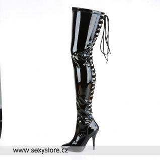 Nad kolena vysoké černé kozačky SEDUCE-3063/B