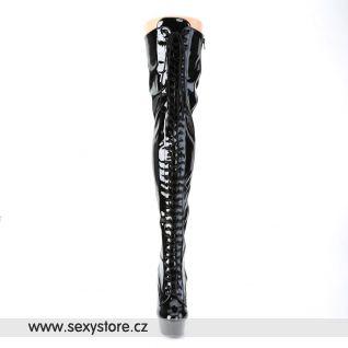 vysoké černé kozačky na podpatku a platformě DELIGHT-3023