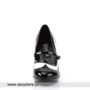 CONTESSA-06/BW retro lodičky na středním podpatku bílé/černé