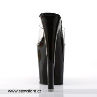XTREME-801/C/B sexy boty na vysoké platfromě a vysokém podpatku černé/průhledné