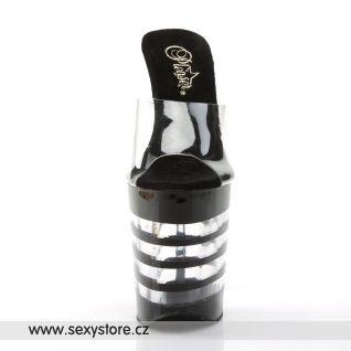 XTREME-801LN/C/B sexy boty na vysoké platfromě a vysokém podpatku černé/průhledné pruhy