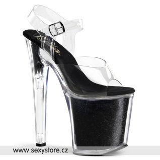 XTREME-808G/C/BG sexy boty na vysoké platfromě a vysokém podpatku černé/průhledné