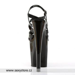 XTREME-872/B/M černé sexy boty na extrémním podpatku a platformě