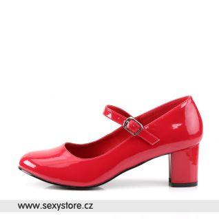 SCHOOLGIRL-50/R červené lodičky na nízkém podpatku
