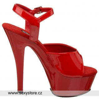 sexy červené boty JULIET-209 na podpatku a platformě