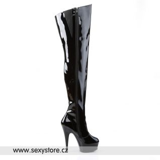sexy černé kozačky na podpatku DELIGHT-3010