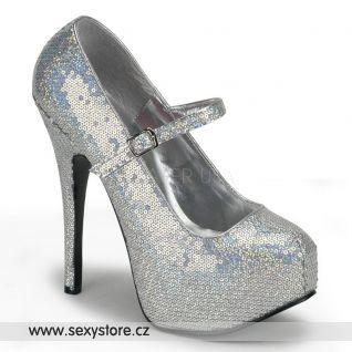 Sexy stříbrné lodičky TEEZE-07H/S na vysokém podpatku