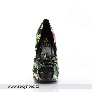 LOLITA-11 květované dámské lodičky na vysokém podpatku
