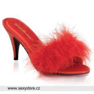 Červené saténové pantofle AMOUR-03/R/SAT