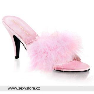 Růžové saténové pantofle AMOUR-03/BP/SAT