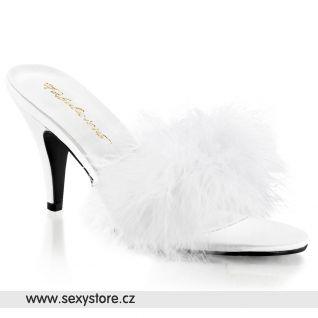Bílé saténové pantofle AMOUR-03/W/SAT