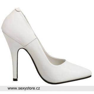 Klasické dámské bílé kožené lodičky SEDUCE-420/W/LE