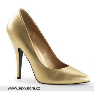 Zlaté matné dámské lodičky SEDUCE-420/G/PU