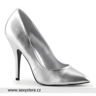 Stříbrné matné dámské lodičky SEDUCE-420/S/PU