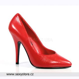 Červené kožené dámské lodičky SEDUCE-420/R/LE