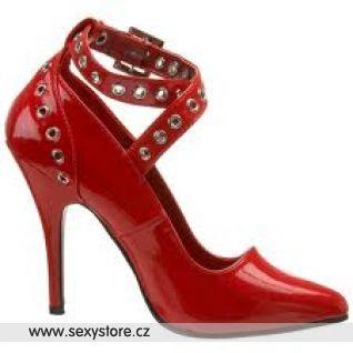 Červené lodičky s pásky SEDUCE-443/R