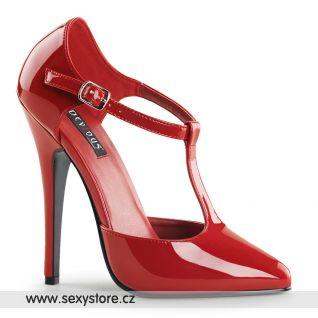 červené retro dámské lodičky na vysokém podpatku DOMINA-415/R