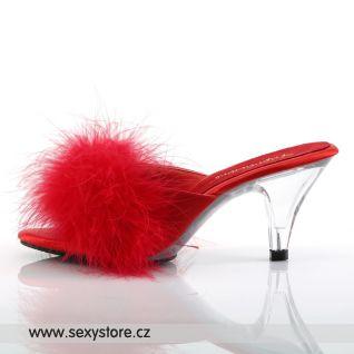 Červené saténové pantofle BELLE-301F/R/SAT