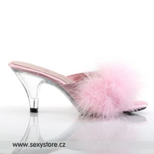 Růžové saténové pantofle BELLE-301F/BP/SAT