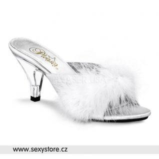Bílé saténové pantofle BELLE-301F/W/SAT