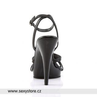 FLAIR-436/B/LE Černé kožené páskové sandály