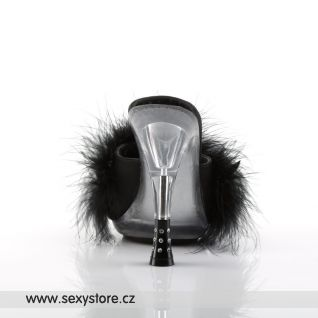 GLITZY-501-8/B/C černé pantoflíčky s chmýřím