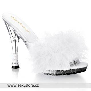 GLITZY-501-8/W/C bílé pantoflíčky s chmýřím